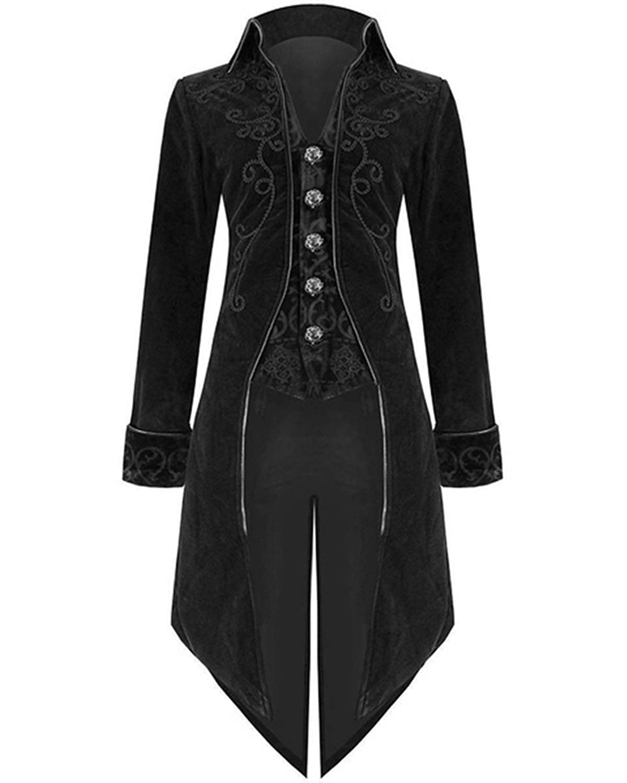 Onancehim Halloween Steampunk Tailcoat Costume for Men Medieval Renaissance Gothic Victorian Jacket Frock Coat