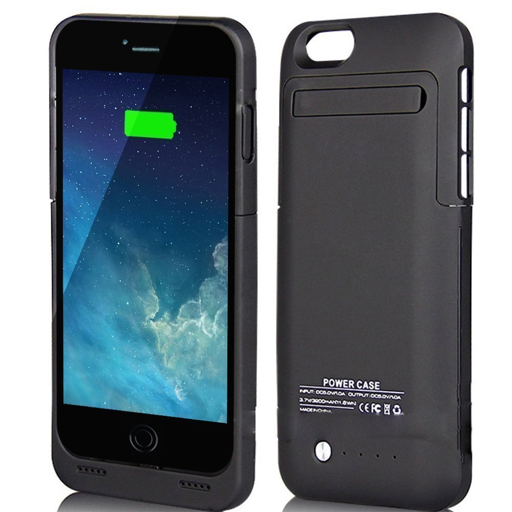 For iPhone 6/6s Charger Case, BSWHW 3500mAh 4.7 iPhone 6/6S Portable Battery Case with Pop-out Kickstand Extended Battery Pack Rechargeable Power Protection case Backup Juice Bank, Black