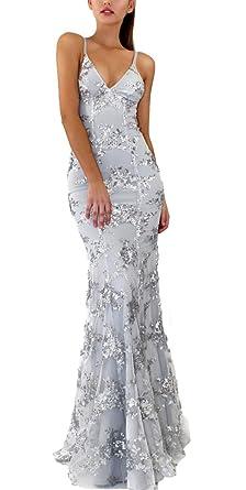 buy online 0cdda 1bfc4 IWFREE Damen Kleider Sommer Sexy Elegant Abendkleider Lang Abend Kleider  Partykleid Freizeitkleid Spitzenkleid Cocktailkleid Ärmellos V-Ausschnitt  ...
