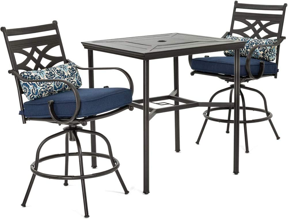 Envelor Hanover Montclair 3 Piece Outdoor High Dining Set Weatherproof Garden Lawn Patio Furniture With Steel Stamped Table Swivel Gliding Chairs And Cushions Amazon Ca Patio Lawn Garden