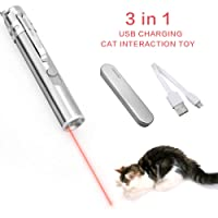 Cat Interactive Toy USB Rechargeable, 3 in 1 Pet Cat Catch the LED Light Interactive Exercise Toy Cat Training Tool