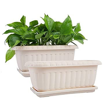 Mkono 2 Pack Rectangular Planter Window Box 15 inches Plastic Garden Pot with Saucers, Beige