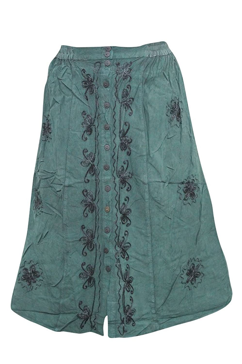 Mogul Interior Women's Skirt Embroidered Rayon Button Front Bohemian Green M