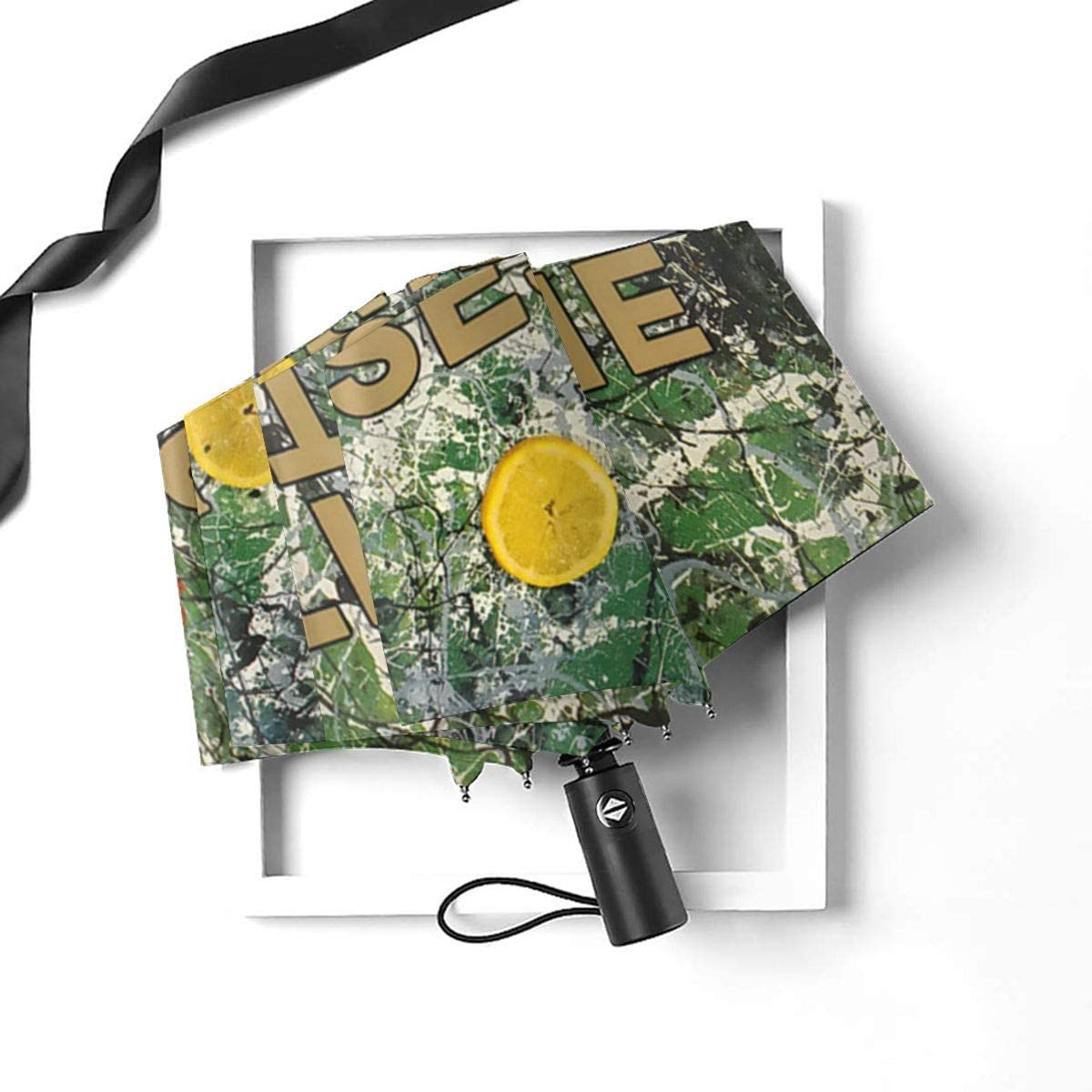 The Stone Roses Automatic Folding Umbrella Super Sunscreen Rain Portable Creative UV Protection Tri-Fold Umbrella