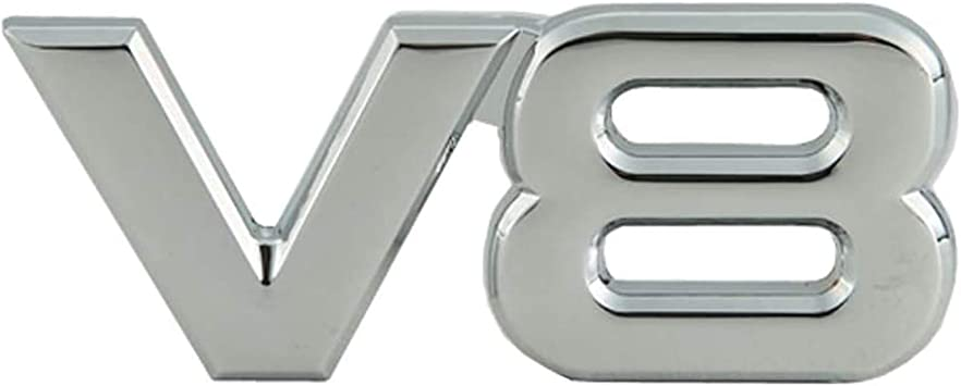Chrome 2x 3D Metal V8 Car Sticker Decoration Adhesive Trunk Badge Emblem Replacement for Universal Cars
