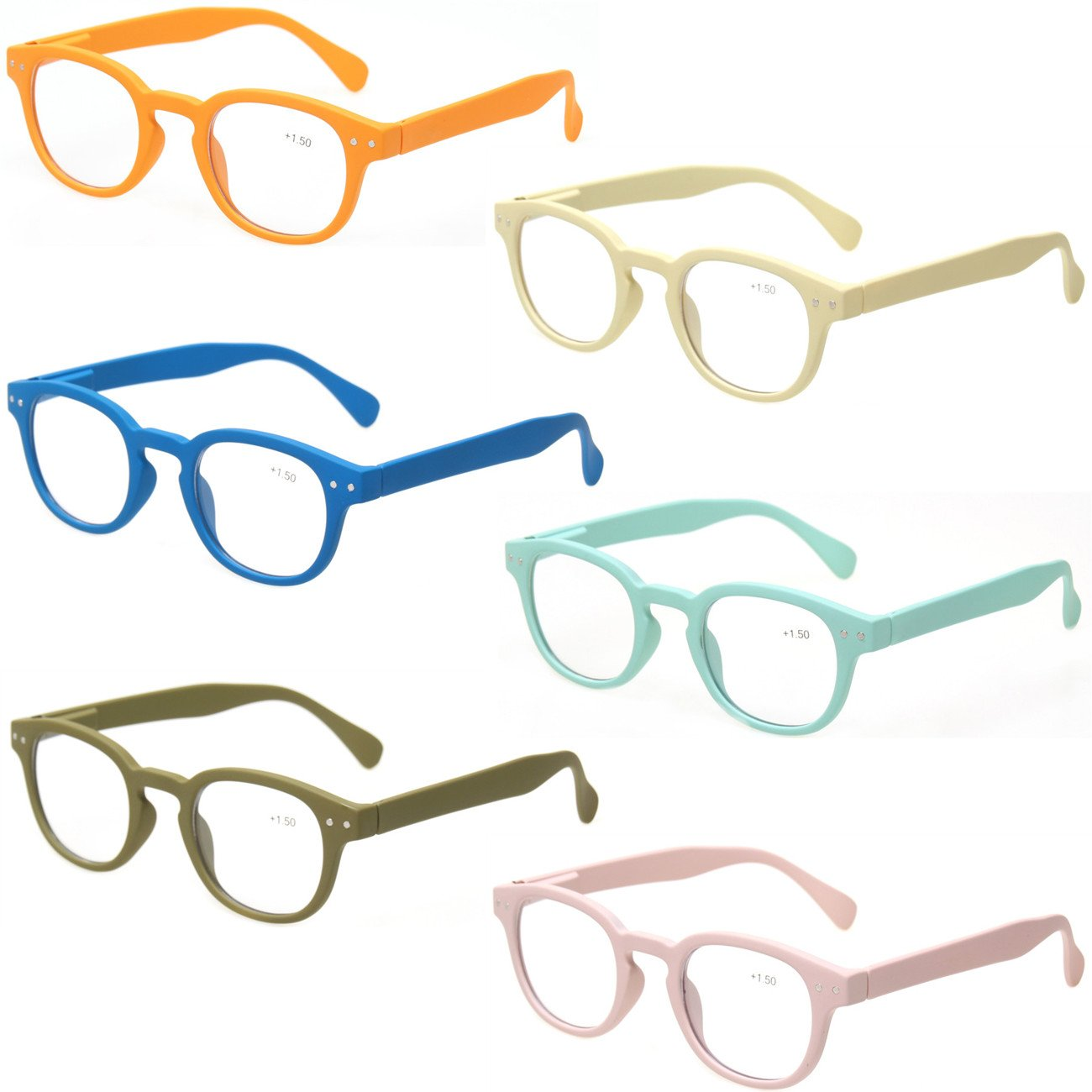 Reading Glasses 6 Pack Great Value Quality Readers Spring Hinge Color Glasses (6 Pairs MIx Color, 3.00) by Kerecsen