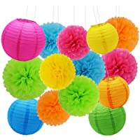 Decoración de Fiesta Pompom Flores,Abanicos de Papel Bola,Kit