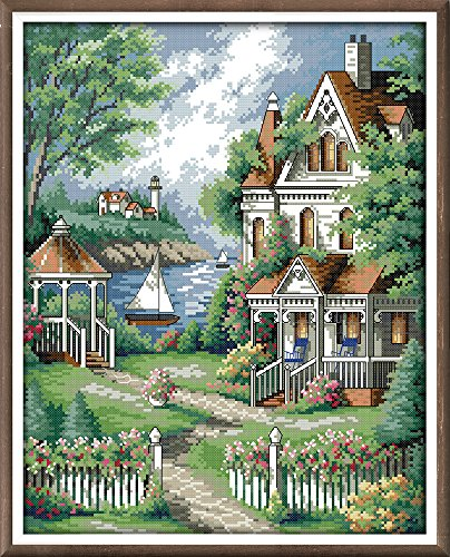 CaptainCrafts Hot New DIY Art Cross Stitch Kits Needlecrafts Patterns Counted Embroidery Kit - Seaside Villa Garden (White)