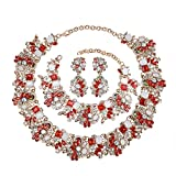 Holylove Red Retro Style Statement Necklace Bracelet Earrings for Women Novelty Jewelry Set 1 with Gift Box-8041BRed 3PCS