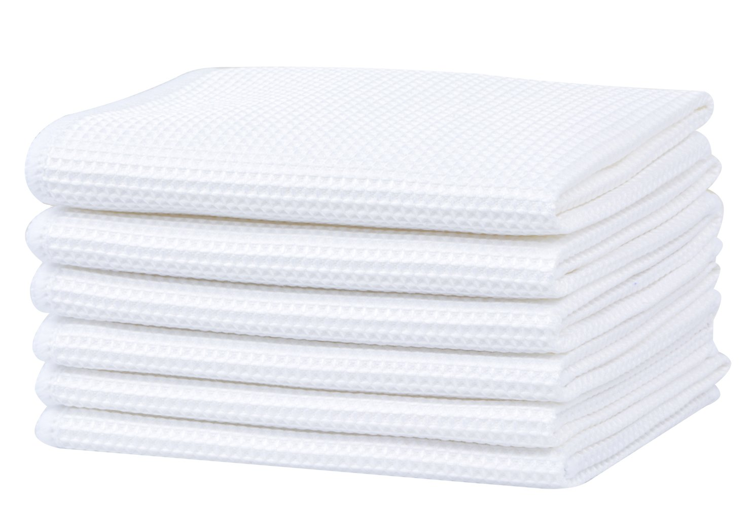 Deep Waffle Weave Dish Cloths White Kitchen Dish Rags for Washing Dishes Microfiber Lint Free Cleaning Cloth 12InchX12Inch 6 Pack