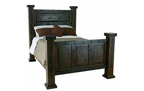 Rustic Gran Hacienda King Bed Dark Stain Real Wood Rustic Western