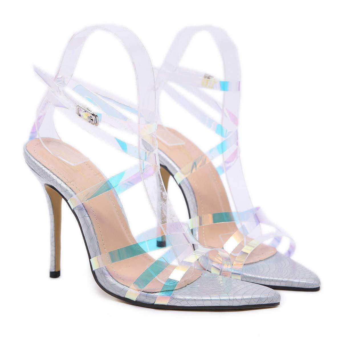 HBDLH Damenschuhe/Gut Bei Fuß Sagte Sandaleen Sommer Strahlende Rom 12Cm High - Heel Die Silbernen 35