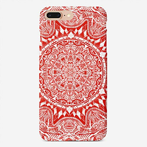 BEETLE CASE Compatible with iPhone 7/8 Plus Case Red Mandala Pattern Unique Pattern Design Slim Fit Shell Hard Plastic Full Protective Anti-Scratch Resistant Cover