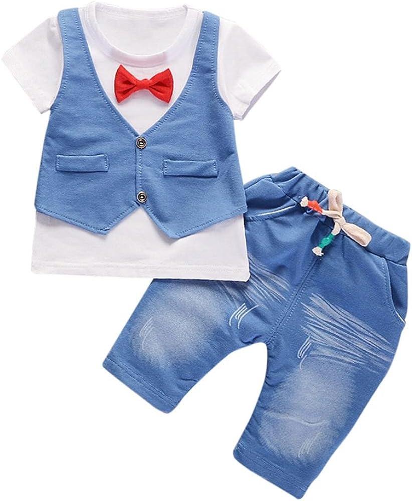 Conjunto de bebé niño de Verano pequeños Niños Bebés Trajes de Ropa Camiseta de Manga Corta + Pantalones Conjunto de Ropa de Caballero 6 Mes - 4 Años (Blanco, Tamaño:6-12Mes): Amazon.es: Ropa