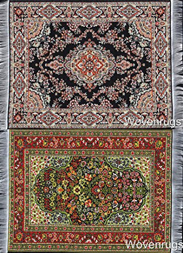 "Set of 2 Dollhouse Carpets | Woven Miniature Dolls House Rugs | 10x7 | Toy Furniture | 1"" Scale"