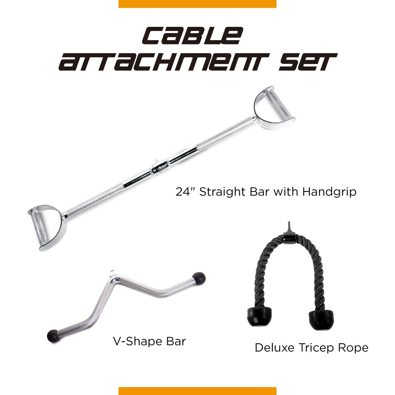 CAP Barbell 24'' Pro-Style LAT Bar with Revolving Hanger & Triceps Press Down Rope & V-Shaped Triceps Press Down Bar Attachment Set