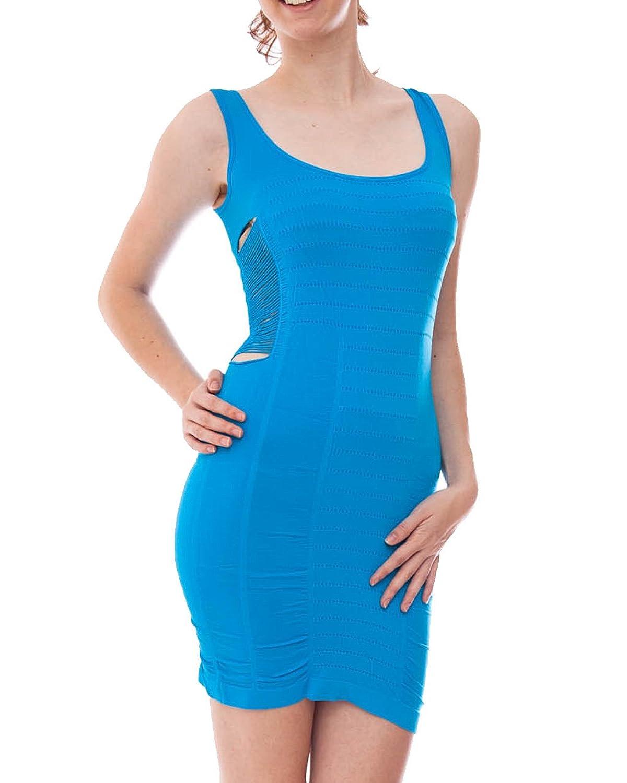 Blue Perforated Tank Dress Slashed Sides