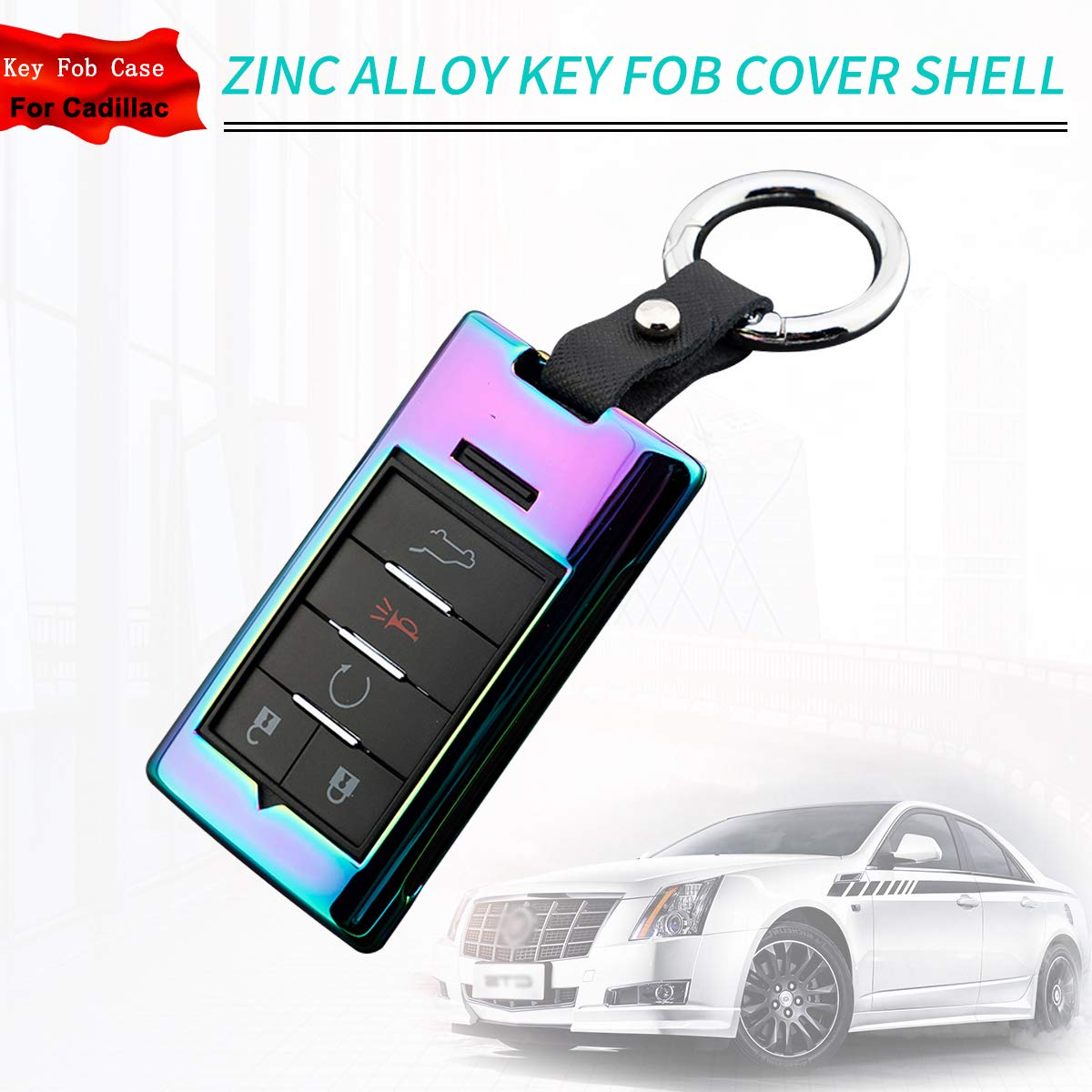 Universal Car Key protector cover for Cadillac DTS CTS STS XTS Escalade Blue Zinc Alloy Key Fob Cover with Key Chain for Chevrolet C7 Corvette 4 5 6 button Remote Smart Key Fob Case for Cadillac