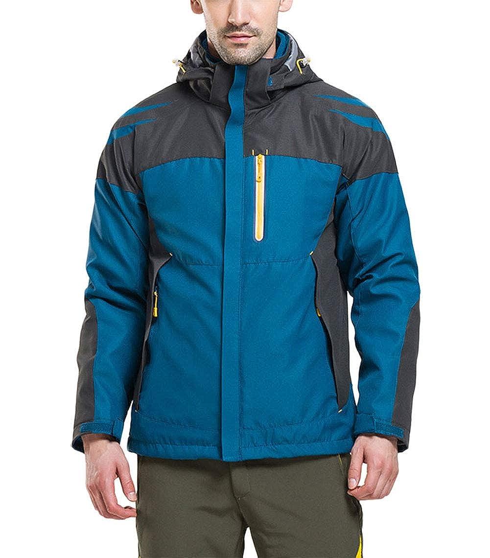 Paon Bleu S SANKE Veste de Ski d'hiver imperméable Coupe-Vent imperméable 3 en 1 pour Homme