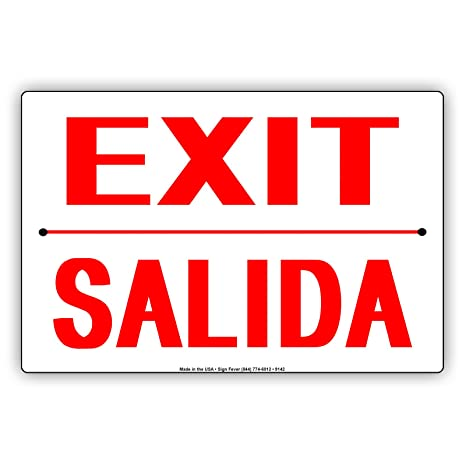 Amazon.com: Salida Solo salida Español Inglés aluminio Sign ...