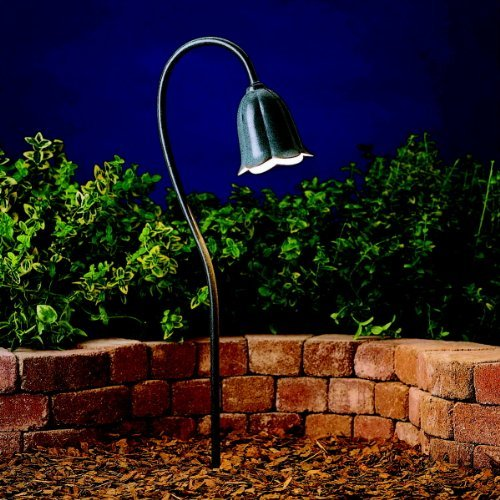 15349MST Tulip 1LT Incandescent/LED Hybrid Low Voltage Landscape Path and Spread Light, Textured Midnight Spruce Finish by Kichler