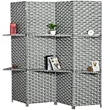 MyGift 4-Panel Gray & White Woven Design Wood Room Divider, Privacy Screen with Removable Shelves