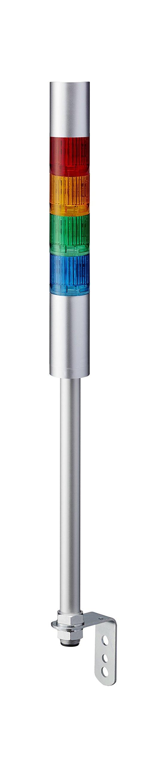 Patlite, LR4-402LJBU-RYGB, 40mm 4-tier Stack Light, UL CE IP65 DC 24V, Pole Mount/Cable, Flashing/Buzzer, Silver
