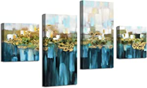 Abstract Wall Art Canvas Pictures: Gold Foil Graphic Artwork Painting on Canvas for Living Room( 32''x16''x2 Panels +16''x16''x2 Panels
