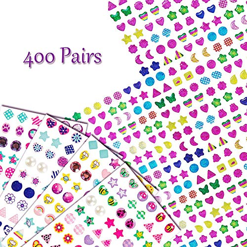 YBB 400 Pairs Earrings 3D Gems Sticker, Girls Stick on Earrings, Glitter Craft Crystal Sticker, Multicolor and Assorted Shapes