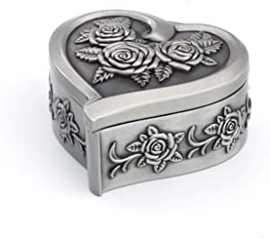 Wislist Heart Shape Retro Metal Small Ring Box Antique Keepsake/Treasure/Earrings/Necklace Jewelry case for Proposal Engagement Wedding Ceremony Birthday Gift Trinket Storage Display Chest Organizer