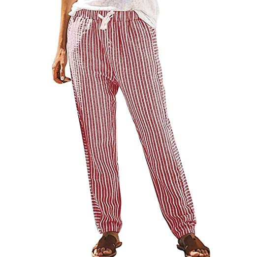 12bc9a170d3 Women Pants,Farjing Women Striped Printed Drawstring Elastic Long Pants  Stripped Pencil