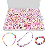 Bead Kits Set For Jewelery Making - Craft DIY Necklaces Bracelet Beads Children Games Colorful Acrylic Handmade Beaded Box Accessories Gift For Girl(color4),HUATK