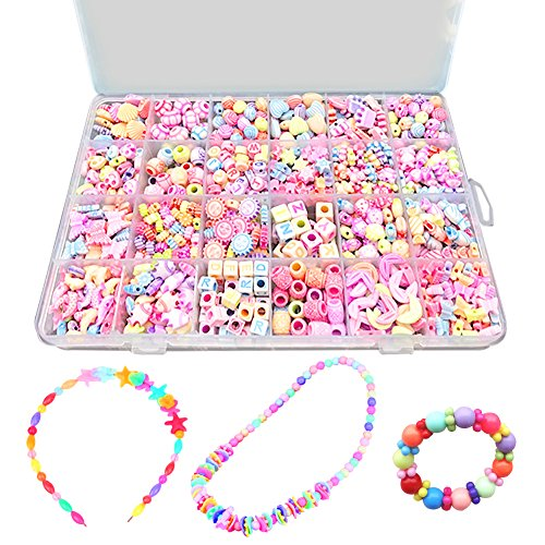 Bead Kits Set For Jewelery Making - Craft DIY Necklaces Bracelet Beads Children Games Colorful Acrylic Handmade Beaded Box Accessories Gift For Girl(color4),HUATK by HUATK