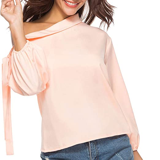 LIKESIDE Womens Ladies Bow Oblique Collar Long Sleeve T-Shirt Tops Blouse S 68fceef2a