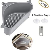 Sink Drains Strainers,Triangular Sink Basket Shelf With Suction Cup Sucker,Corner Hanging,Sink Storage Rack Holder For Kitchen Bathroom Soap Box Organizer (1pc Gray)