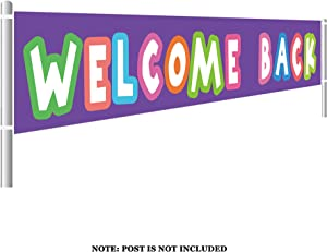Large Welcome Back Banner, Home Party Decorations, Back to School Signs Decorations, School Decor, Classroom Supplies Photo Props (9.8 x 1.5 feet)