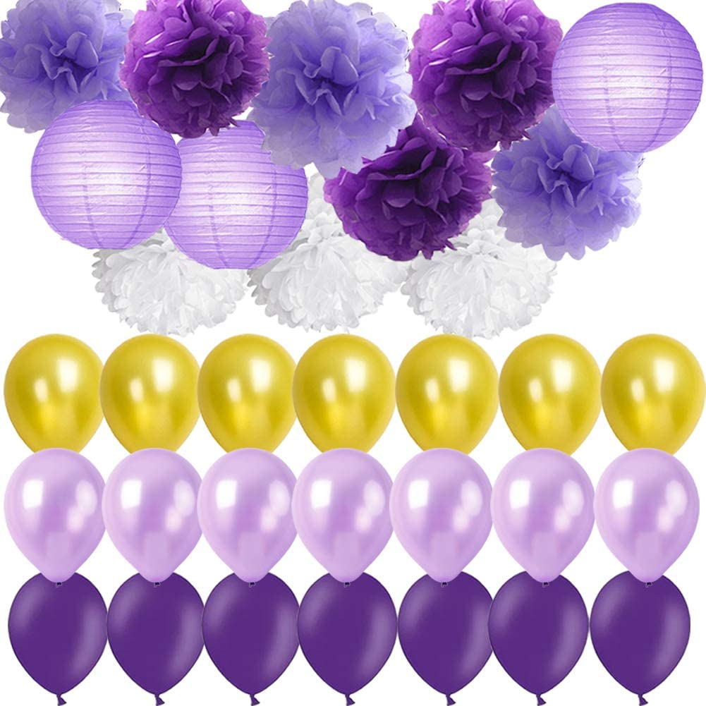 Purple Party Decorations- Lavender Purple Gold White Pom Poms Flowers Paper  Lanterns mixed Party balloons for Birthday Party Baby Shower Bridal Shower