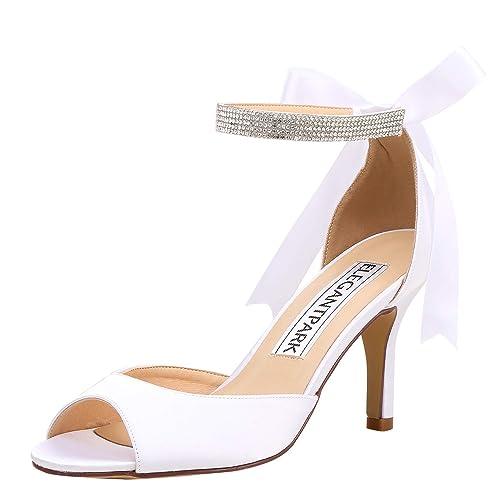 d5f4633edf7 Elegantpark Women Peep Toe High Heel Sandals Bridal Wedding Shoes for Bride Ankle  Strap  Amazon.ca  Shoes   Handbags