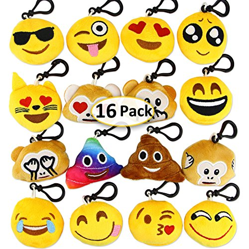 Dreampark Emoji Keychain Mini Cute Plush Pillows Kids Party Supplies Favors, Emoticon Key Chain Toy Kids Prize Easter Eggs Fillers, 2