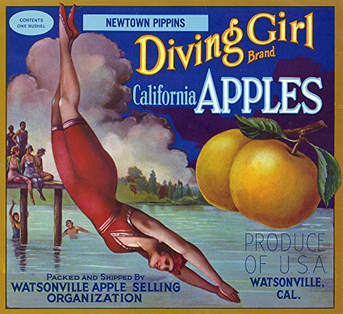 Watsonville, California - Diving Girl Brand Apple - Vintage Crate Label (12x18 Art Print, Wall Decor Travel Poster)