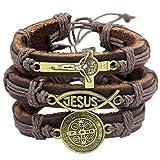 RechicGu Catholic Religious Christian Jesus Fish Cross St. Benedict Medal Leather Bracelet Bangle Cuff