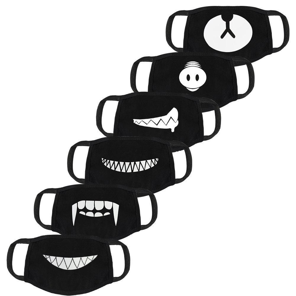 accmor 6 Pack Black Anti-Dust Anime Cotton Mask, Cute Unisex Face Mouth Mask for Kids Teens Men Women (Teeth EXO Bear Pig Pattern)