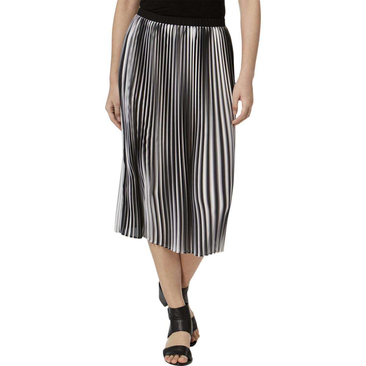 Black White EileenFisher Womens Pleated Striped Midi Skirt