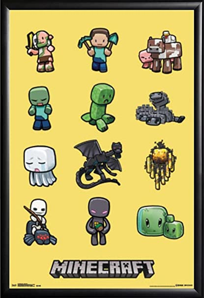 Amazoncom Framed Minecraft Characters 22x34 Dry Mounted