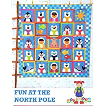 """Fun at the North Pole Quilt Pattern from The Red Boot Quilt Co. 53.5"""" x 53.5"""" Eskimo penguin polar bear seal whale moose"""