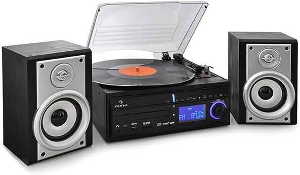 auna DS-2 minicadena con tocadiscos (reproductor estéreo con ...