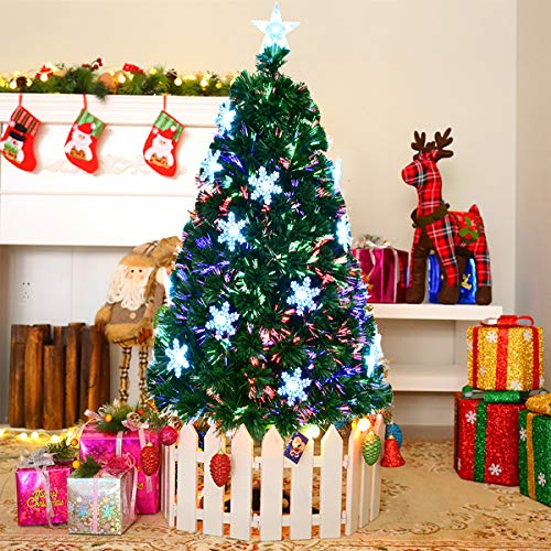 COSTWAY 5FT Fibre Optic Christmas Tree, Artificial Green Xmas Tree with Metal Stand, Light Snowflakes and Top Star, Multicoloured Christmas Decoration and Gift (5FT/1.5M)