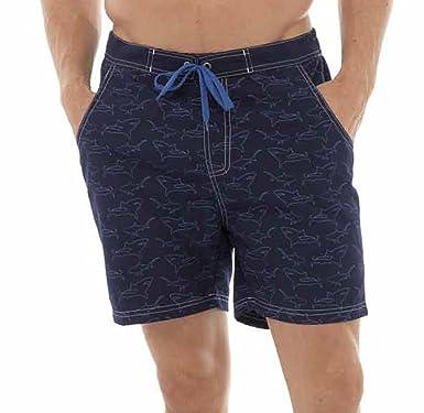 2b5e3ecde2f7a Mens Shark Print Swim Shorts Swimming Trunks Beach Pants Surf Holiday  Swimwear Navy Blue Medium