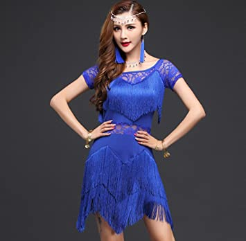 Traje de Baile Latino Mujer Adulto Traje de Baile Latino Rosa Azul ...