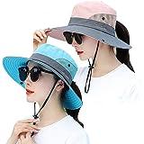 Lvaiz Women's Sun Hat Outdoor UV Protection Bucket Mesh Boonie Hat Adjustable Fishing Safari Cap Waterproof